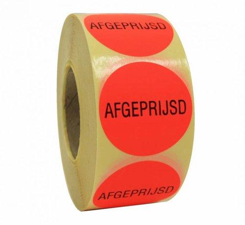 Sticker AFGEPRIJSD 40mm - rood/zwart