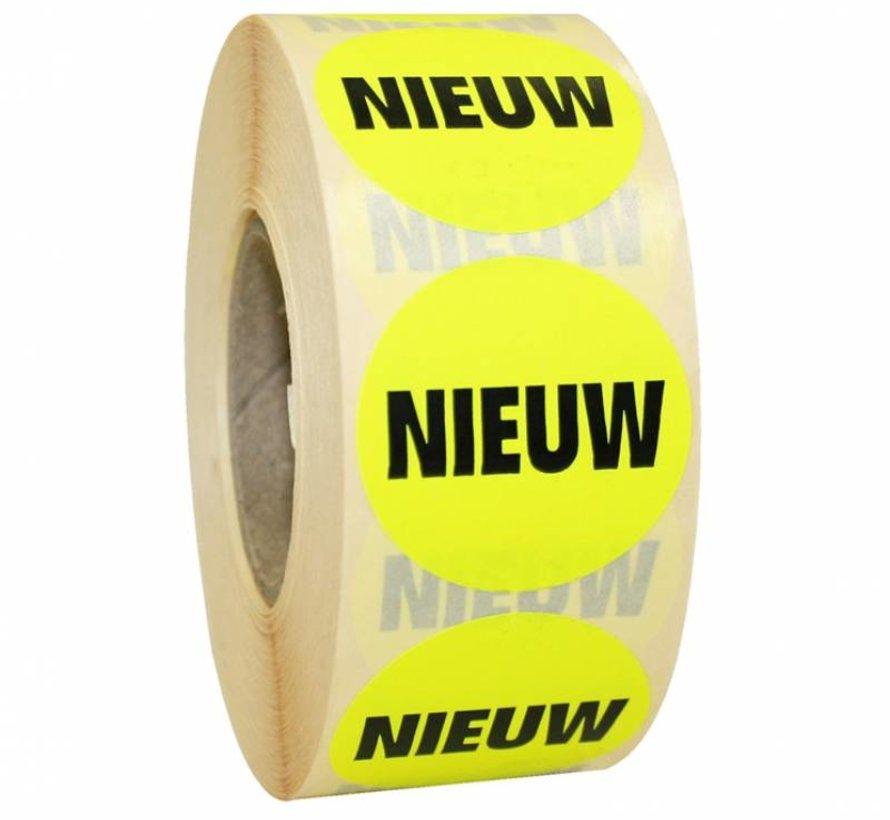Sticker NIEUW 35mm - geel/zwart