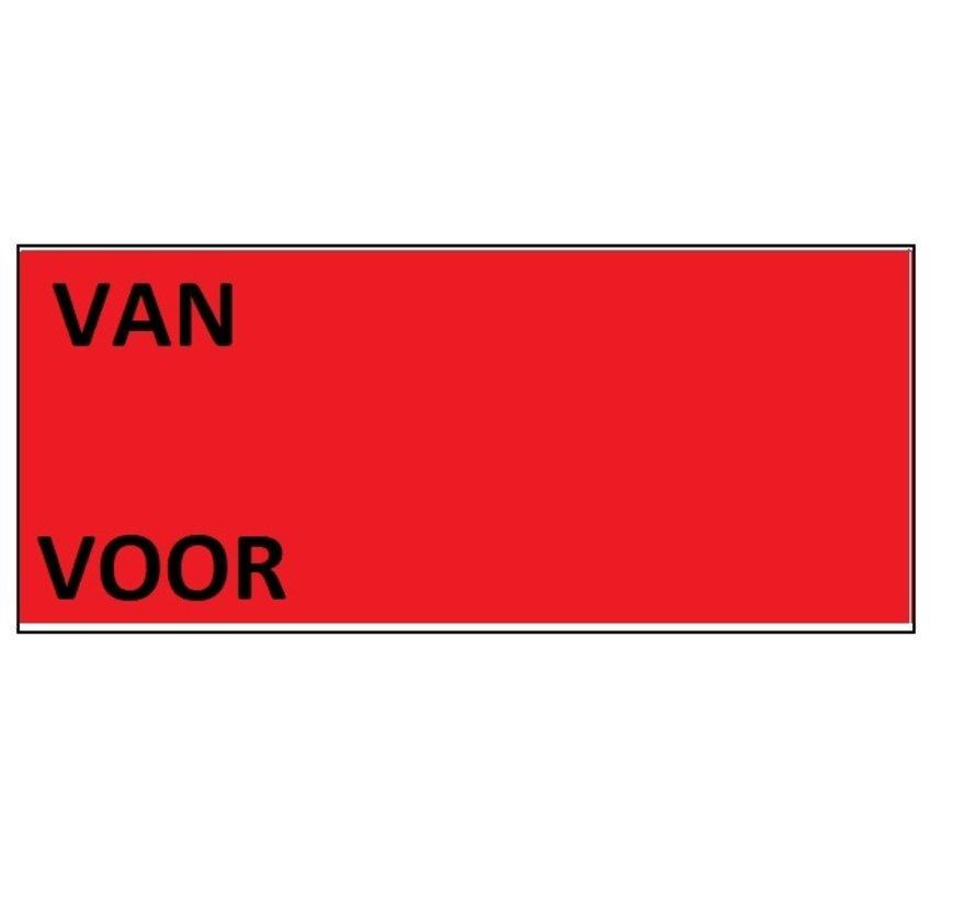 Prijsetiketten Contact 37x19 rood - 1ds á 30 rol Van/Voor