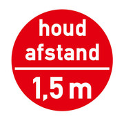 Vloersticker Houd afstand - Rood
