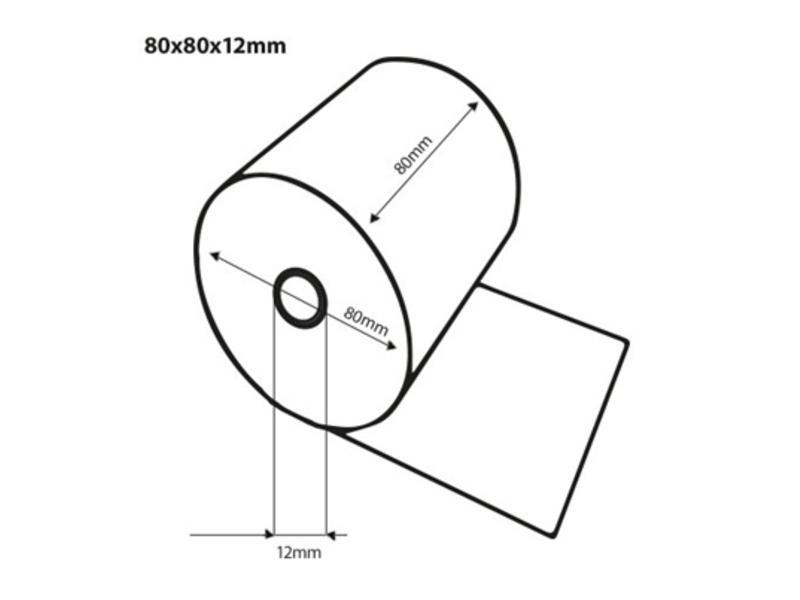Thermorollen bedrukt in 1 kleur - 80x80x12 mm