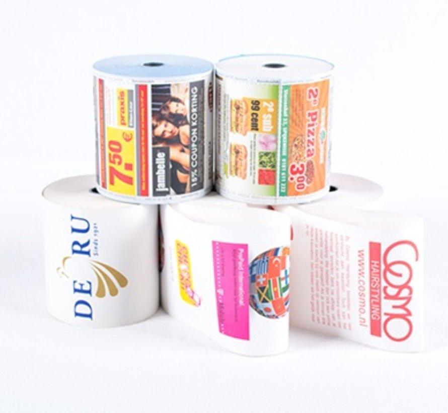 Thermorollen bedrukt in 2 kleuren - 80x80x12 mm