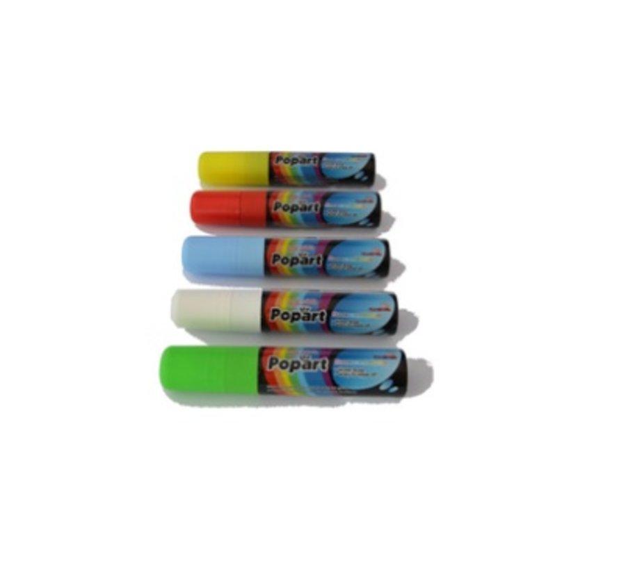 Popart Krijtstiften 15mm - 5 kleuren
