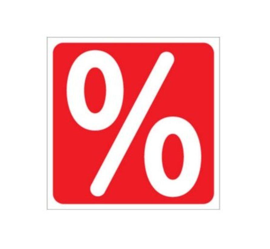 Sticker procentteken vierkant
