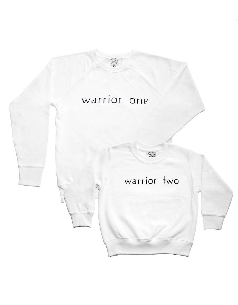 "Me and Mini-Me Sweater set ""Warrior One"" en Warrior Two mama + kind"