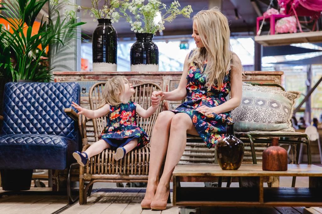 Me and Mini-Me Moeder-dochter set Bloemenjurk Blauw