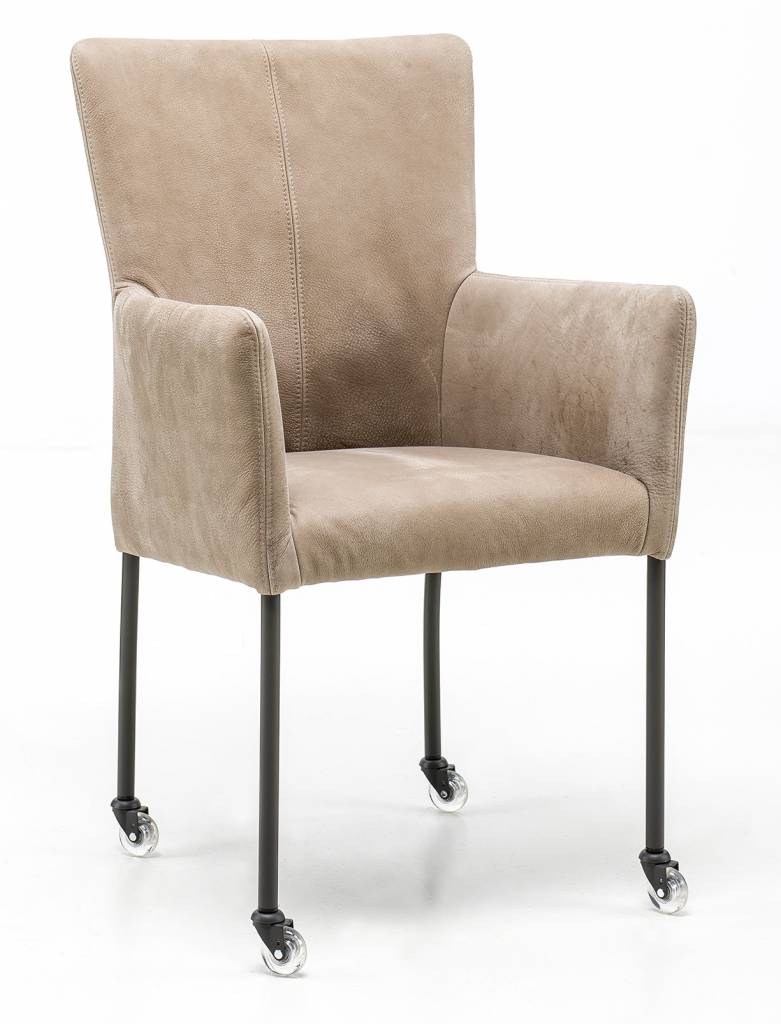 Armchair in Leather Safari chair leg with wheel