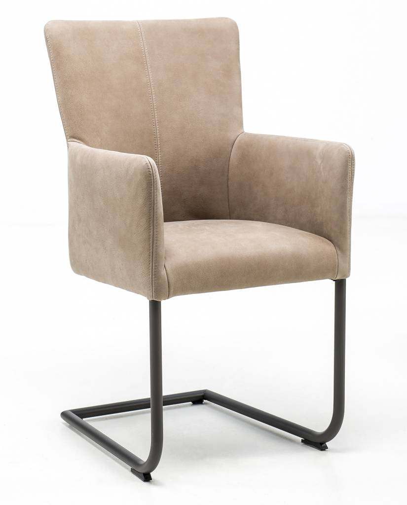 Armchair in leather Safari with Swinger base