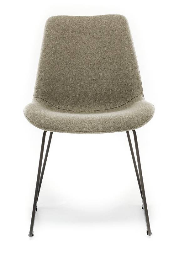 Chair in Fabric ST Moritz Oliva with Sled leg
