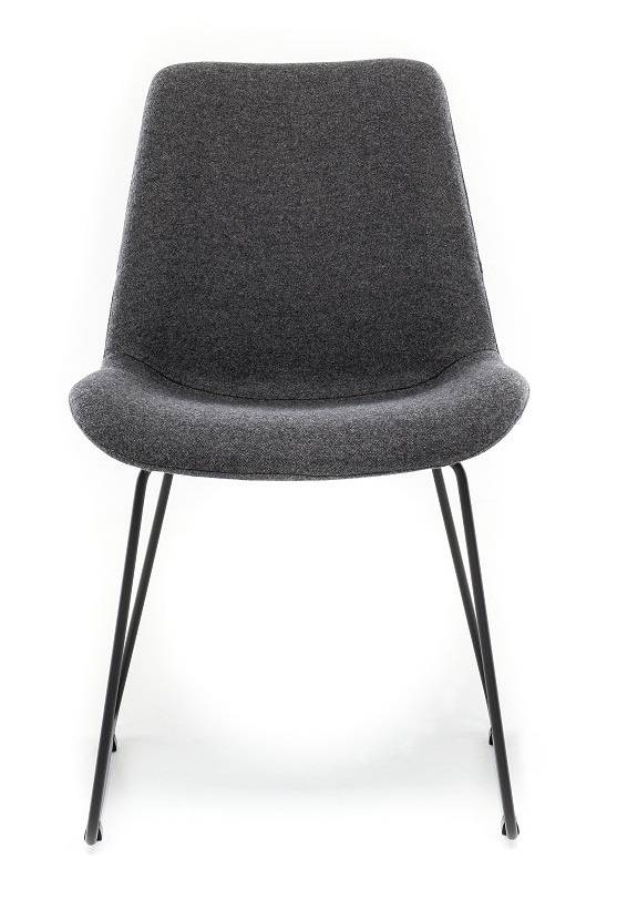 Chair in Fabric ST Moritz Pietra with Sled leg