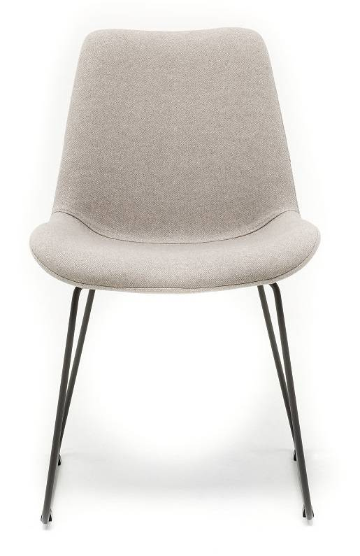 Chair in Fabric ST Moritz Visone with Sled leg