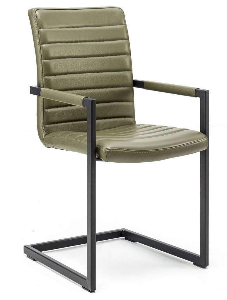 Armchair in Leather Modena foresta with Sled leg
