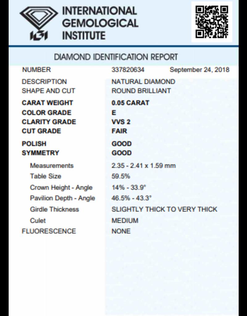 IGI Brillante - 0,05 ct - E - VVS2 F/G/G None