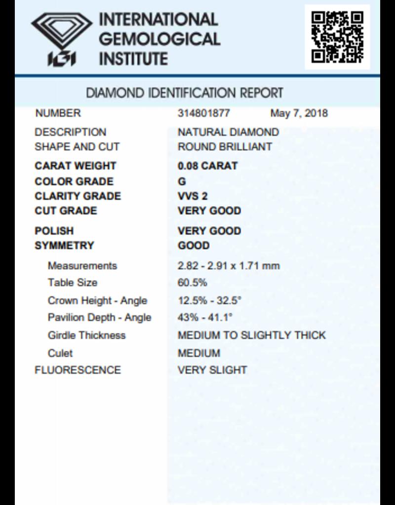IGI Brilliant - 0,08 ct - G - VVS2 VG/VG/G Very slight