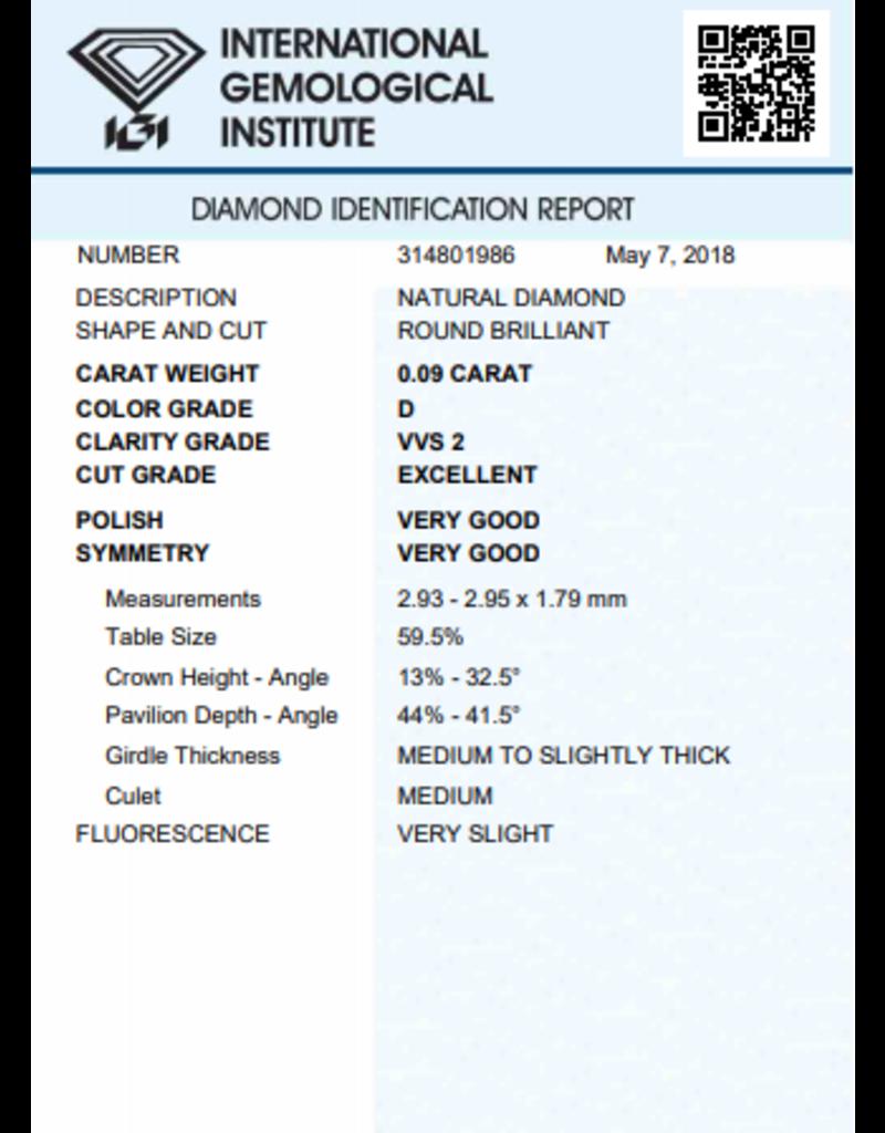 IGI Brilliant - 0,09 ct - D - VVS2 Exc/VG/VG Very slight