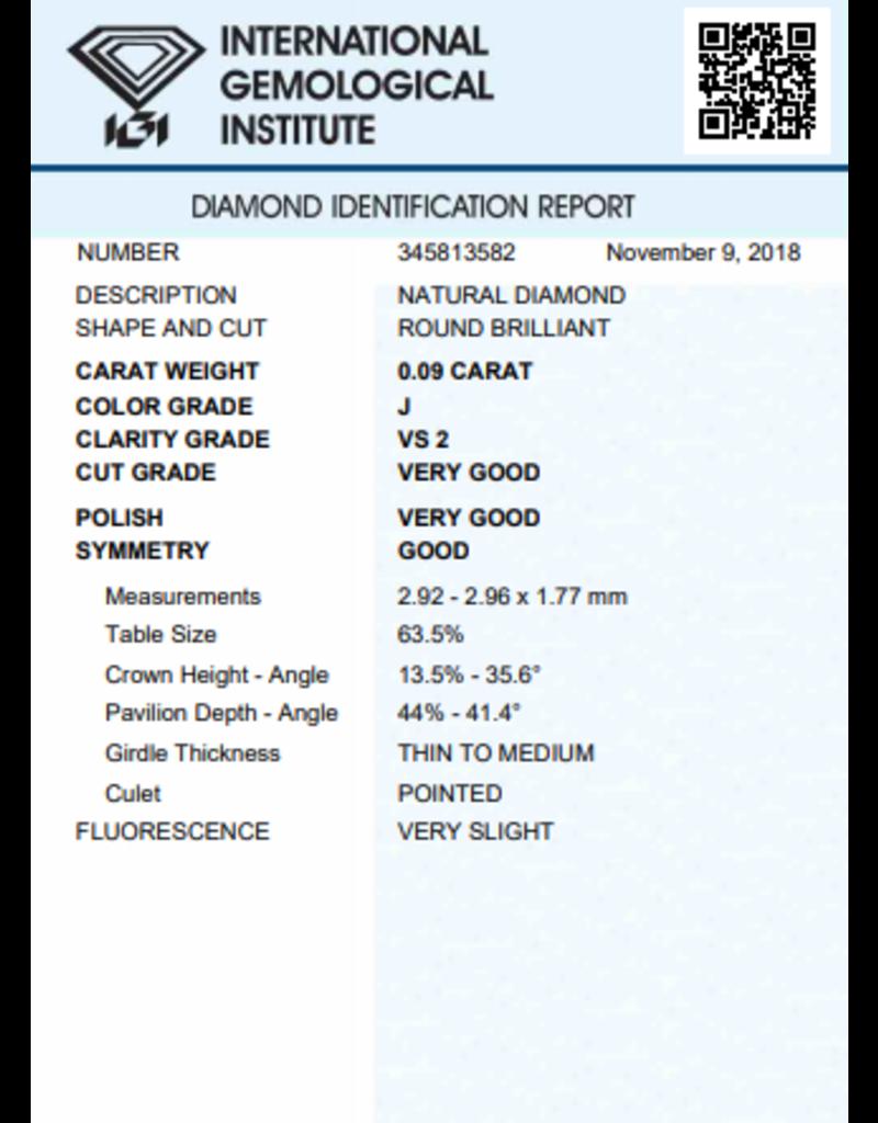 IGI Brilliant - 0,09 ct - J - VS2 VG/VG/G Very slight