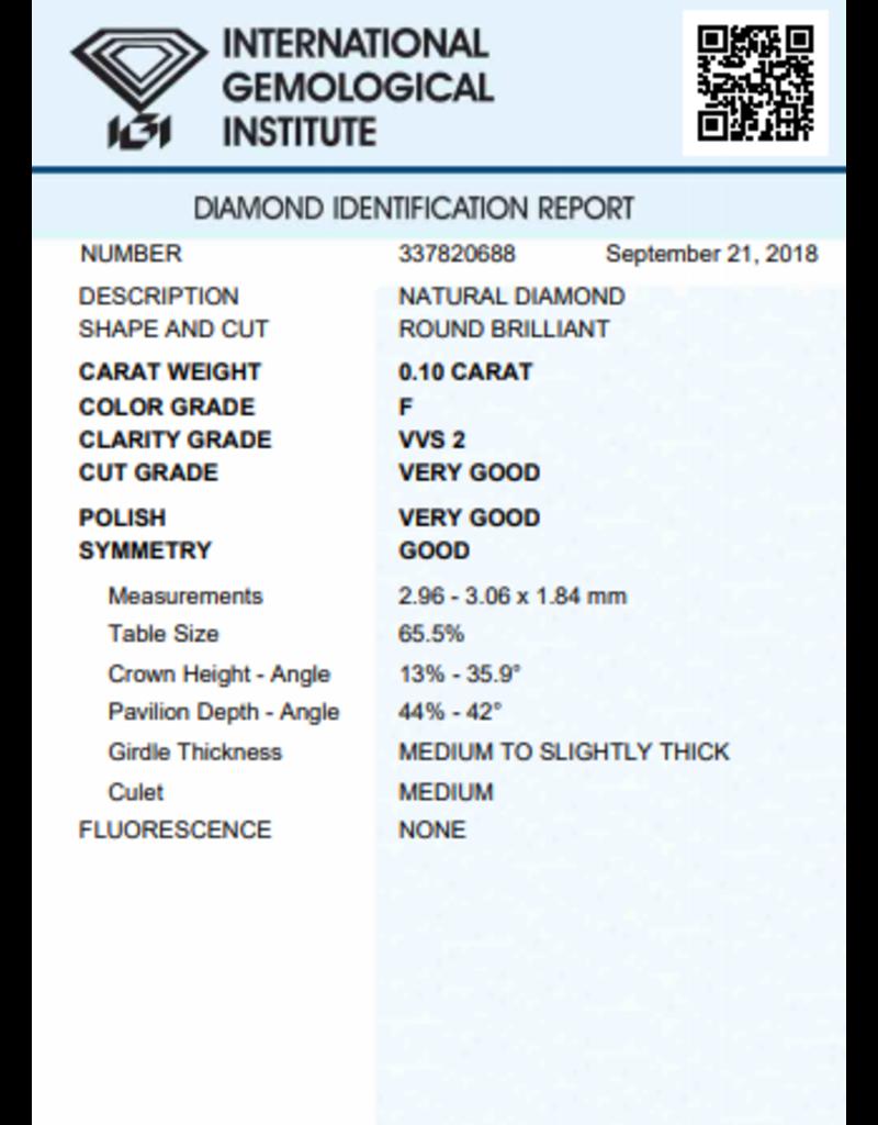 IGI Brilliant - 0,10 ct - F - VVS2 VG/VG/G None