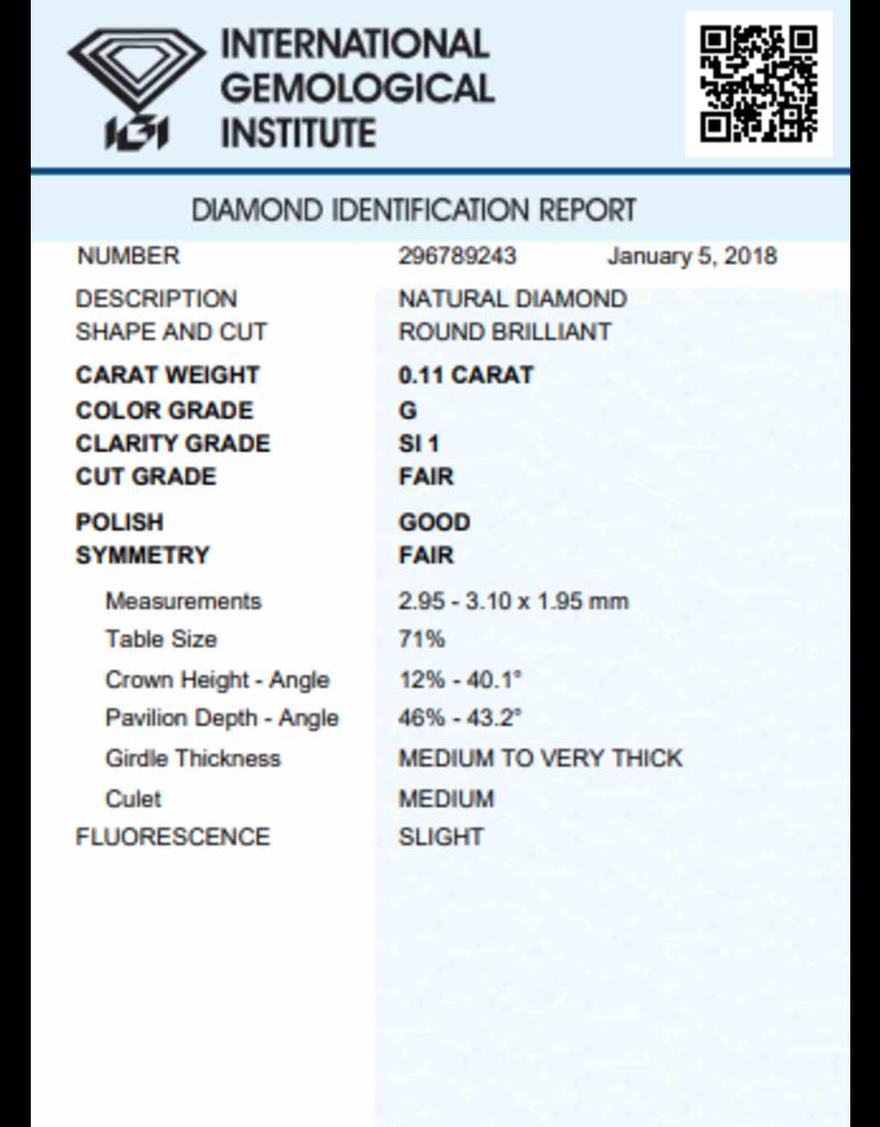 IGI Brillante - 0,11 ct - G - SI1 F/G/F Slight
