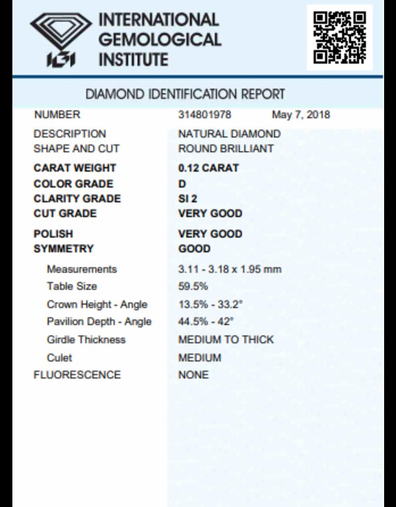 IGI Brillante - 0,12 ct - D - SI2 VG/VG/G None