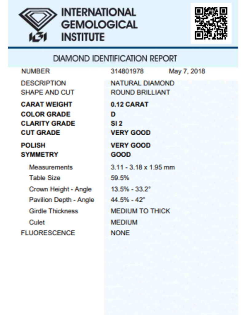 IGI Brilliant - 0,12 ct - D - SI2 VG/VG/G None