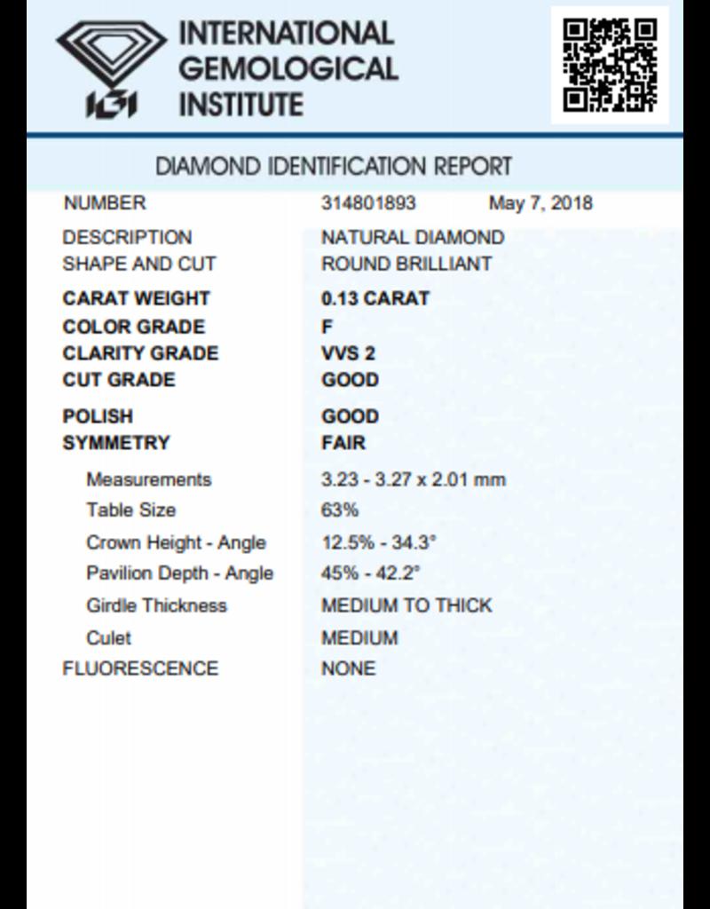 IGI Brilliant - 0,13 ct - F - VVS2 G/G/F None