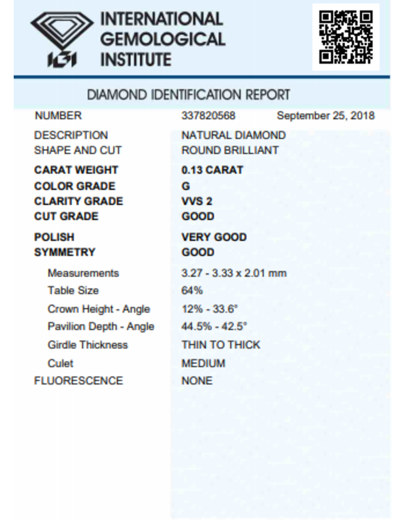 IGI Brilliant - 0,13 ct - G - VVS2 G/VG/G None