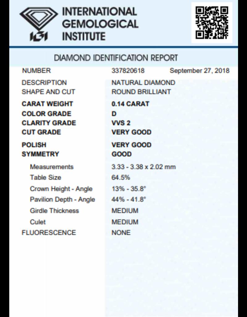 IGI Briljant - 0,14 ct - D - VVS2 VG/VG/G None