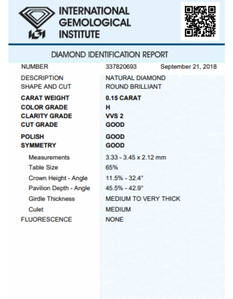 IGI Brillante - 0,15 ct - H - VVS2 G/G/G None