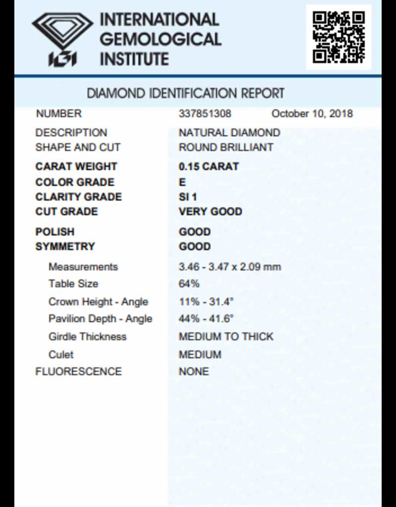 IGI Brilliant - 0,15 ct - E - SI1 VG/G/G None