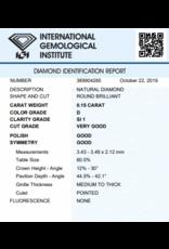 IGI Brillante - 0,15 ct - D - SI1 VG/G/G None