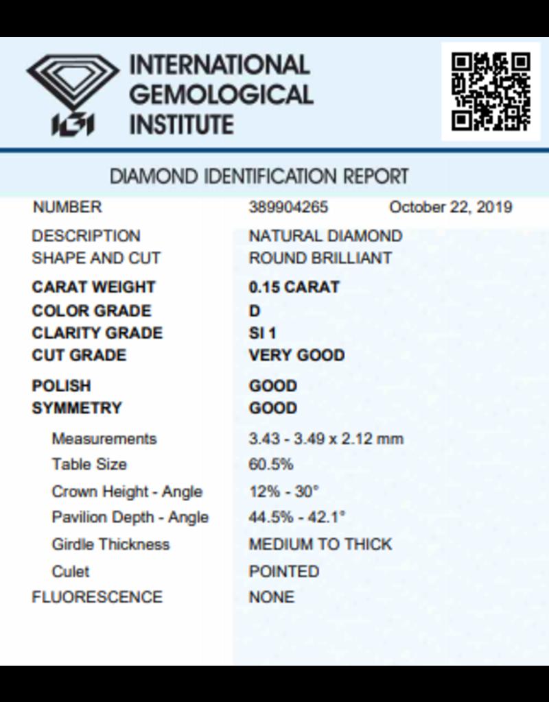 IGI Brilliant - 0,15 ct - D - SI1 VG/G/G None