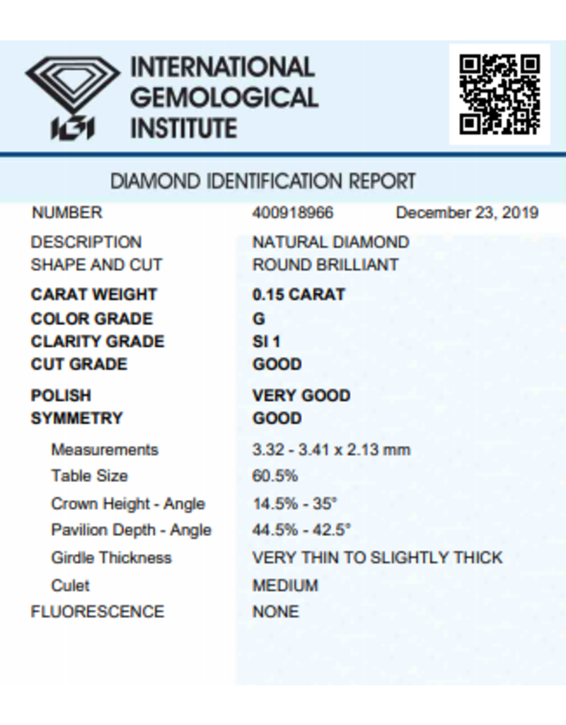 IGI Briljant - 0,15 ct - G - SI1 G/VG/G None