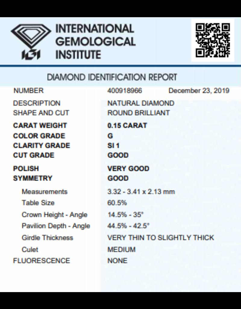 IGI Brilliant - 0,15 ct - G - SI1 G/VG/G None