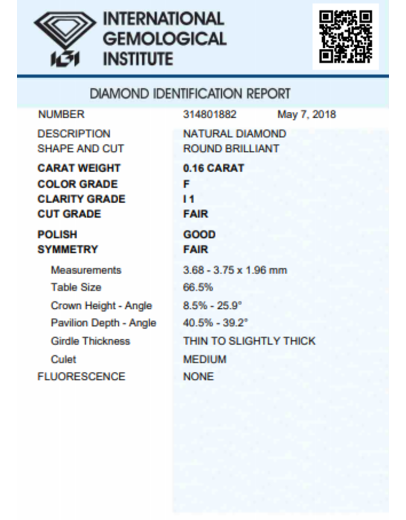 IGI Briljant - 0,16 ct - F - I1 F/G/F None