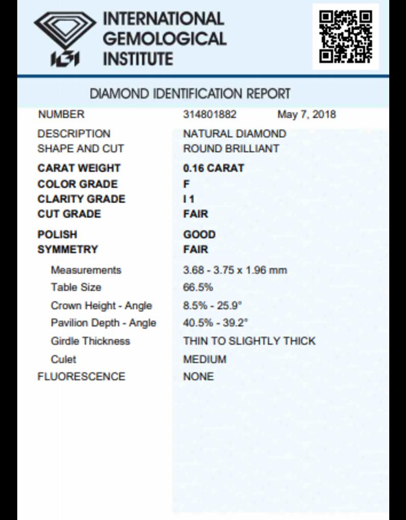 IGI Brilliant - 0,16 ct - F - I1 F/G/F None