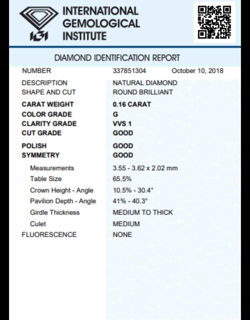 IGI Briljant - 0,16 ct - G - VVS1 G/G/G None
