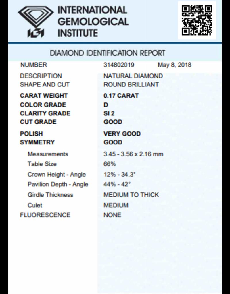 IGI Brilliant - 0,17 ct - D - SI2 G/VG/G None