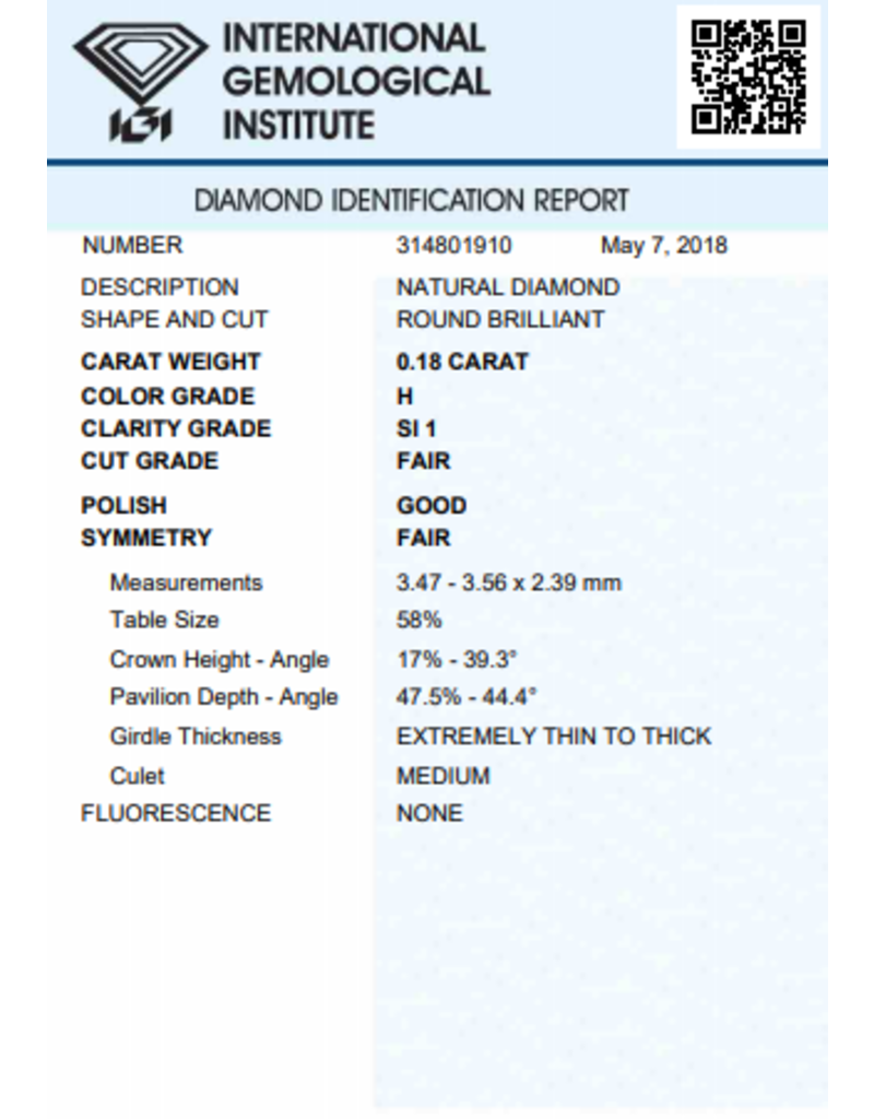 IGI Brillante - 0,18 ct - H - SI1 F/G/F None