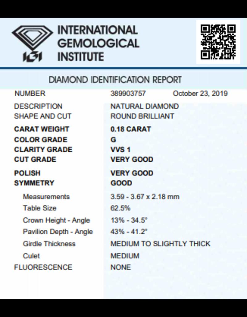 IGI Brilliant - 0,18 ct - G - VVS1 VG/VG/G None