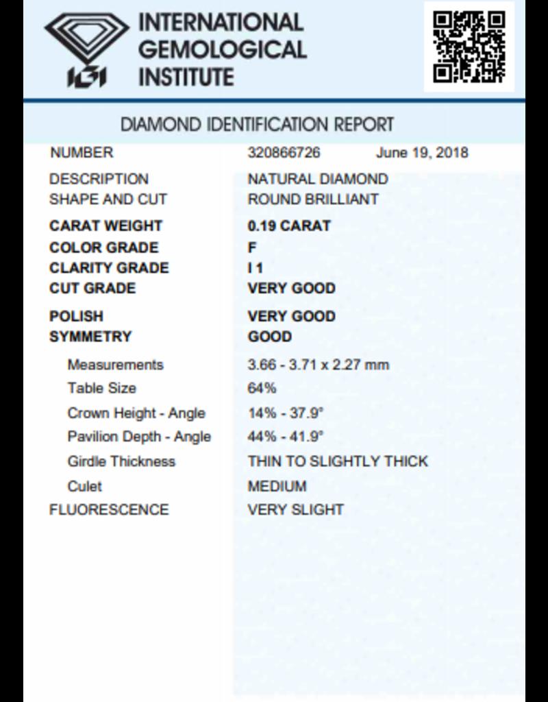 IGI Brillante - 0,19 ct - F - I1 VG/VG/G Very slight