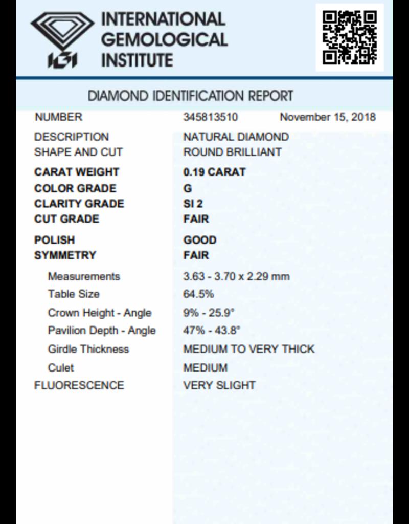 IGI Brillante - 0,19 ct - G - SI2 F/G/F Very slight