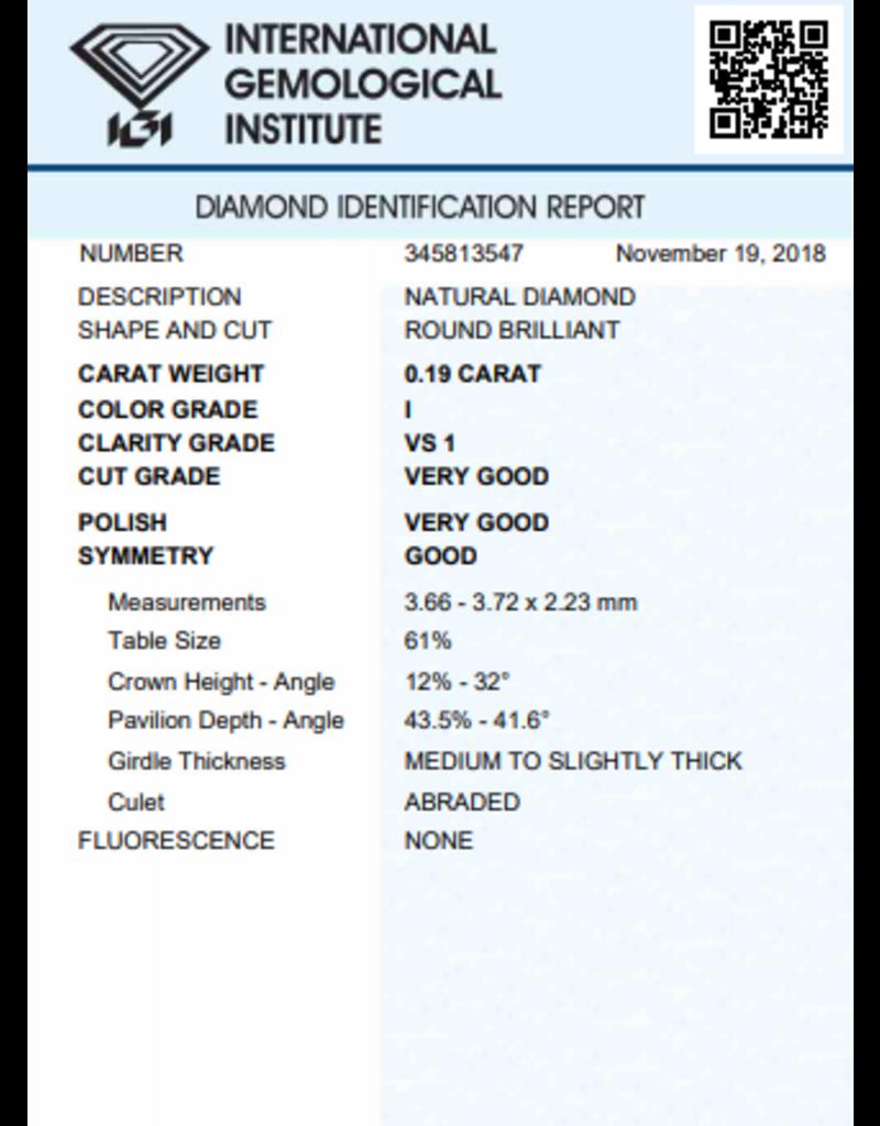 IGI Brillante - 0,19 ct - I - VS1 VG/VG/G None