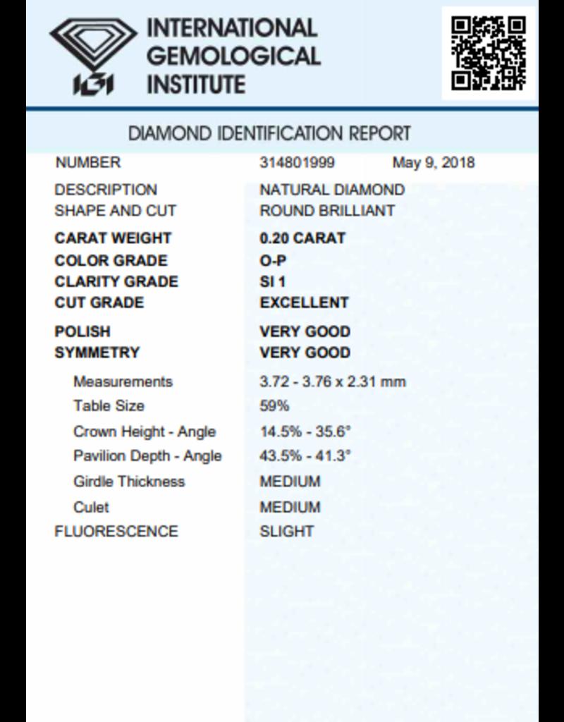 IGI Brilliant - 0,20 ct - O-P - SI Exc/VG/VG Slight
