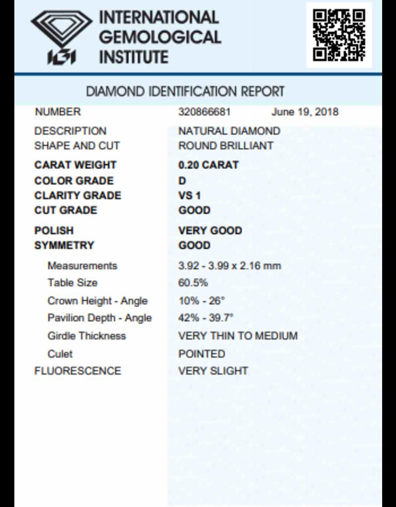 IGI Brillante - 0,20 ct - D - VS1 G/VG/G Very slight