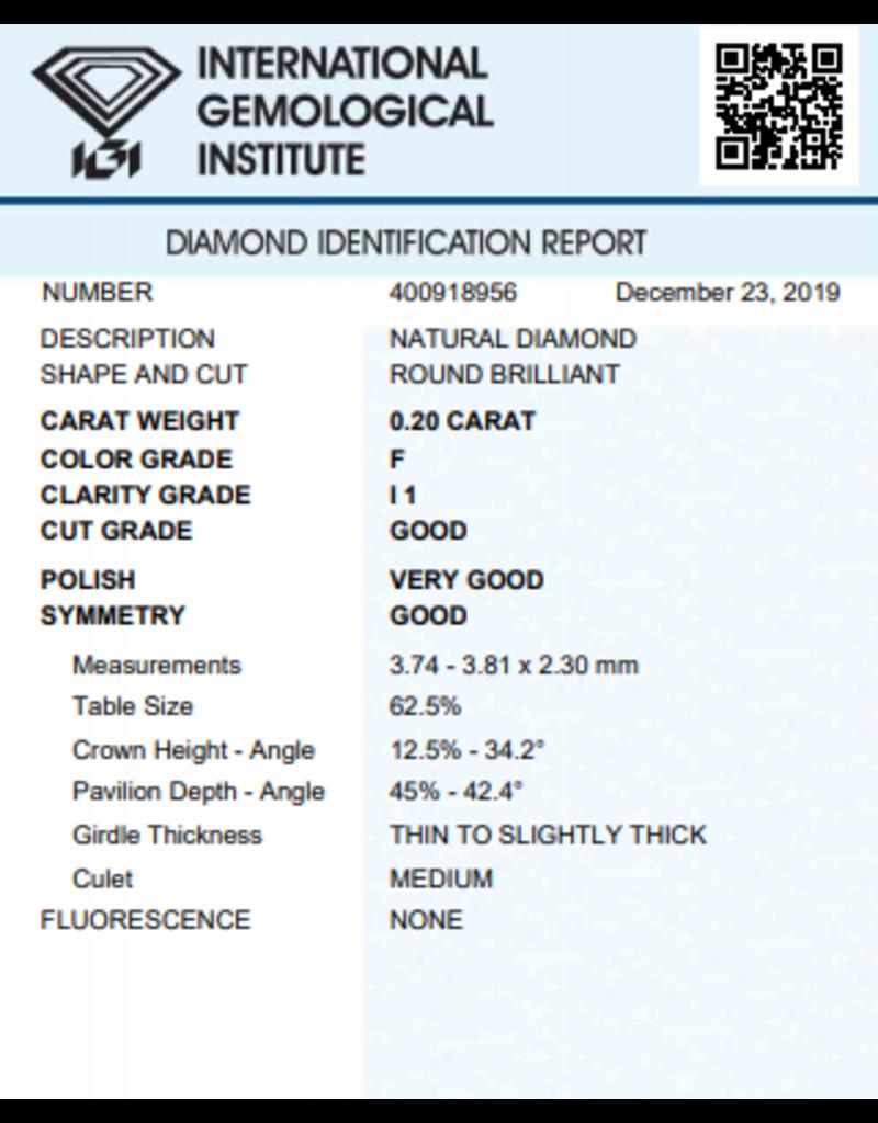 IGI Briljant - 0,20 ct - F - I1 G/VG/G None