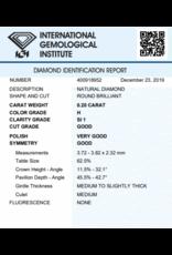IGI Brilliant - 0,20 ct - H - SI1 G/VG/G None