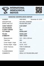 IGI Brillante - 0,20 ct - F - VS2 Exc/Exc/VG Slight