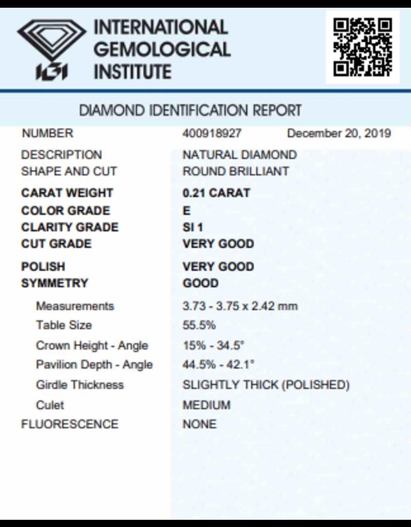 IGI Brilliant - 0,21 ct - E - SI1 VG/VG/G None