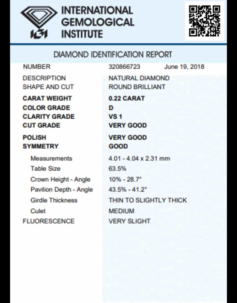 IGI Brilliant - 0,22 ct - D - VS1 VG/VG/G Very slight