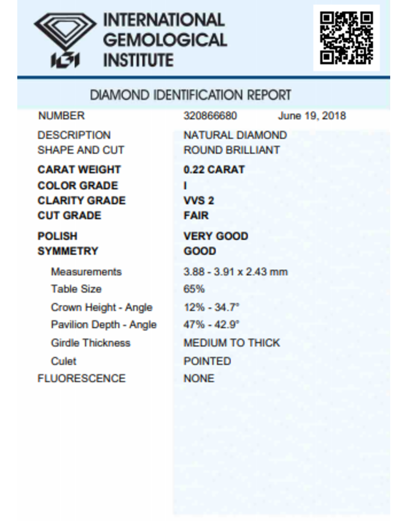 IGI Brillante - 0,22 ct - I - VVS2 F/VG/G None